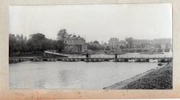 91Md   77 Lagny Grande Photo Cartonnée (23cm X 12cm) Pont Détruit Et Pont Flottant Militaire (n°1) - Lagny Sur Marne