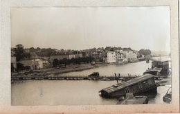 91Md   77 Lagny Grande Photo Cartonnée (23cm X 12cm) Pont Détruit Et Pont Flottant Militaire (n°2) - Lagny Sur Marne