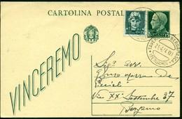 V9145 ITALIA RSI 1944 Cartolina Postale 15 C. Vinceremo, Fil. C97, Interitalia 94, Con Affrancatura Aggiuntiva, - 4. 1944-45 Repubblica Sociale