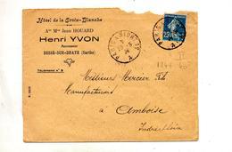 Lettre Cachet  Convoyeur Paris à Niort Entete Hotel Croix Blanche - Marcophilie (Lettres)