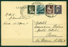 Z550 ITALIA REPUBBLICA 1946 Cartolina Postale 50 C. (Fil. C120a),con Affrancatura Aggiuntiva, Da Vicenza 1.7.46 Per Roma - 6. 1946-.. Republic