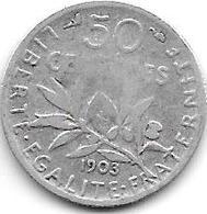 *france 50 Centimes  1903  Km  854   Fr+ - France