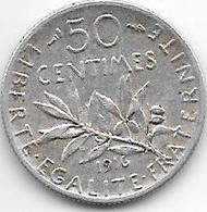 *france 50 Centimes  1916  Km  854   Vf - France