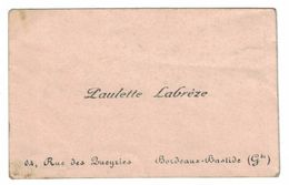 PAULETTE LABREZE 64 RUE DES LUEYRIES BORDEAUX-BASTIDE GIRONDE - Cartes De Visite