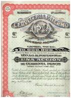 Titre Ancien - Cerveceria Palermo Sociedad Anónima - Titulo De 1926 - Industrie