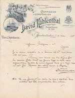 Suisse Facture Lettre Illustrée Train Bateau 11/3/1895 David KÜHLENTHAL Vins Spiritueux Champagne Münchenbuchsee Berne - Suisse