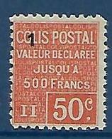 """FR Colis Postaux YT 57 """" Valeur Déclarée 50c. Rouge (1) """" 1926 Neuf** - Mint/Hinged"""