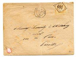 France, N°59 Sur Lettre De 1874, GC 691 (refait) + TAD Gare De Caen - (B2166) - 1849-1876: Classic Period