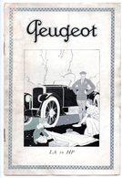 Petit Catalogue 8 P. Peugeot, La 10 HP. 9 Modèles Representés. - Automovilismo
