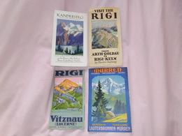 Switzerland 4 X Vintage Travel Brochure/maps. Panorama, Fine Artwork. Rigi, Murren, Kandersteg - Tourism Brochures