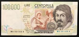 100000 Lire CARAVAGGIO 2° TIPO SERIE A 1994 Spl+ LOTTO 234 - [ 2] 1946-… : Républic