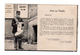 CPA Avis Au Public Journal Officiel Décret 69 , Garde Champêtre Tambour - Cartes Postales