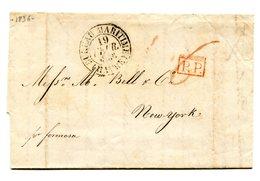 France, Lettre Pour New York 1836, Taxe 6 - Bureau Maritime (Havre) - P.P. (rouge) - (B2169) - Poststempel (Briefe)