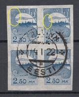 ESTLAND ESTONIA 1920 Michel 28 Als 4-Block + ERROR Abart O - Estland