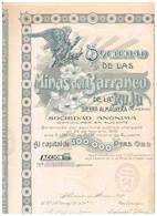 Titre Ancien - Sociedad Anónima De Las Minas Del Barrancode La Raja  Sierra Almagrera (Almeria) - Titulo De 1909 - Déco - Industrie