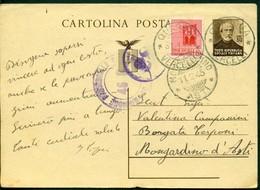 V9158 ITALIA RSI 1945 Cartolina Postale 30 C.Mazzini, Fil. C112, Interitalia 108,con Affrancatura Agguntiva, Da Quarona - 4. 1944-45 Repubblica Sociale