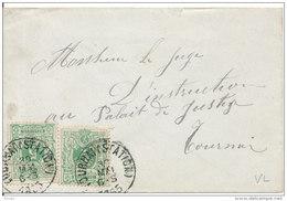 Brief !scheurtje Boven! Van Tournai(Station) Naar Tournai 1885 PZ45(x2) 1PZ Korte Hoek!!    Zie Scan(s) - 1884-1891 Leopold II