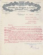 Suisse Facture Lettre Illustrée 29/1/1915 Société Des Forges Du Creux BALLAIGUES - Suisse