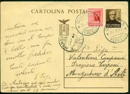V9159 ITALIA RSI 1945 Cartolina Postale 30 C. Mazzini, Fil. C112, Interitalia 108,con Affrancatura Agguntiva, Da Quarona - 4. 1944-45 Repubblica Sociale