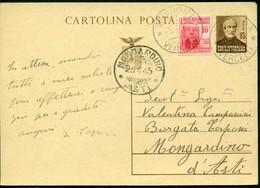 V9161 ITALIA RSI 1945 Cartolina Postale 30 C. Mazzini, Fil. C112, Interitalia 108,con Affrancatura Agguntiva, Da Quarona - Entero Postal
