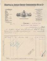 Suisse Facture  Illustrée 22/2/1913 NESTLE & Anglo Swiss Condensed Milk Farine Lactée VEVEY - Suisse