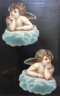 Angelot Nuage Deux Chromos Decoupis 6,5cm - Angeles