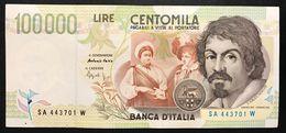 100000 Lire CARAVAGGIO 2° TIPO SERIE A 1994 Spl+ LOTTO 768 - [ 2] 1946-… : Républic