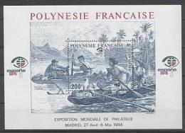 Polynésie  BF 9 XX Espana 84, Le Bloc Sans Charnière, TB - Neufs