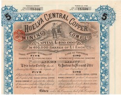 Titre Ancien - Huelva Central Copper Mining Company - Titulo De 1902 - Déco - Industrie