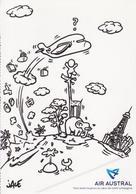 974 ILE DE LA REUNION - Carte PUB - Illustration JACE  Pour La Compagnie Aérienne  AIR AUSTRAL  Avion - Aviation