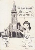 974 ILE DE LA REUNION - Carte Postale  Affiche Illustration FRANCIS - Eglise SAINTE ANNE  LANGUE CREOLE KREOL - La Réunion