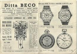 """2923 """" DITTA BECO-TORINO-IMPORTAZIONE E FABBRICAZIONE DI OROLOGI-CAT. N° 162-ANNO 1958 """" ORIGINALE - Autres"""