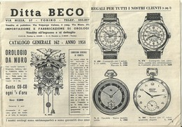"2923 "" DITTA BECO-TORINO-IMPORTAZIONE E FABBRICAZIONE DI OROLOGI-CAT. N° 162-ANNO 1958 "" ORIGINALE - Bijoux & Horlogerie"