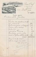 Suisse Facture Note Illustrée 31/8/1914 Hôtel BOIS CERF  LAUSANNE - Suisse
