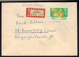 DDR R-Brief EF 70 Pfg. Frauenkongreß Ab Berlin Johannisthal N. Naumburg Saale - [6] Democratic Republic