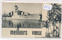 Carte De Voeux ( 2 Scans) -19233  -Nouvelle Calédonie -Navire Amiral Charner ( Militaria)-2 Scans-  Envoi Gratuit - Nouvelle Calédonie