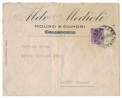 """YN119   Storia Postale 1957 Collecchio Busta Commerciale """"Aldo Medioli Molino A Cilindri"""" Per Nardò - 1946-.. République"""