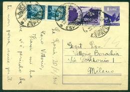 Z477 ITALIA REPUBBLICA 1948 Cartolina Postale 8 L.   Fil. C134, Espresso Con Francobolli Aggiunti (affrancato Con 48 L., - Interi Postali