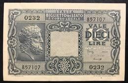 10 LIRE GIOVE 1944 LUOGOTENENZA Q.spl LOTTO 1299 - [ 1] …-1946 : Koninkrijk