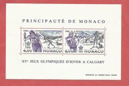 MONACO , Bloc N° 40 , 10 Frs , XV Jeux Olympiques D'Hiver à CALGARY, 1988 , NEUF ** - Blocs