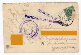 Annullo CENSURA MILITARE 8° CENSORE - Sezione Telefonica - Telefonia - Storia Postale - 1900-44 Vittorio Emanuele III