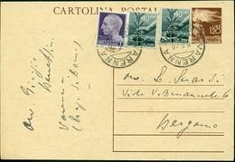 V9053 ITALIA LUOGOTENENZA 1946 Cartolina Postale 1,20 L. Democratica, Fil. C127, Interitalia 124, Con Affrancatura - Storia Postale