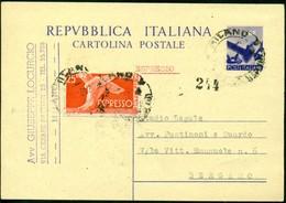 V9079 ITALIA REPUBBLICA 1948 Cartolina Postale 8 L. Democratica, Fil. C134, Interitalia 134, Espresso Con Affrancatura - 6. 1946-.. Repubblica