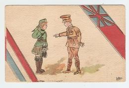 CP PATRIOTIQUE HUMOUR MILITARIA 1916 - FEMME MILITAIRE EN KILT Et MILITAIRE - Ed. DEVAMBEZ DRAPEAU - Patriottiche