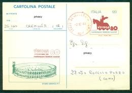 Z1201 ITALIA REPUBBLICA 1980 Cartolina Postale Manifestazioni Filateliche Nazionali, Fil. C185, Viaggiata Da Genivolta - 6. 1946-.. Repubblica