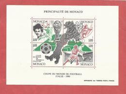 MONACO , Bloc N° 50 , 20 Frs , Coupe Du Monde De Football ITALIE 90 , 1990 , NEUF ** - Blocs