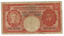 Jamaica 5 Shillings 1950, USED, SEE SCAN. - Jamaica