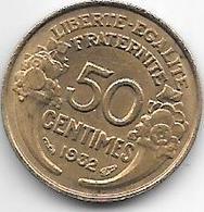 France 50 Centimes  1932 Open 9   Km  894.1   Unc - France