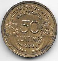 France 50 Centimes  1933 Open 9   Km  894.1   Xf+ - France
