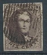 10c Brun Margé Papier épais (rare) Obl Prolongation Du Cadre Vert Droit - 1858-1862 Médaillons (9/12)